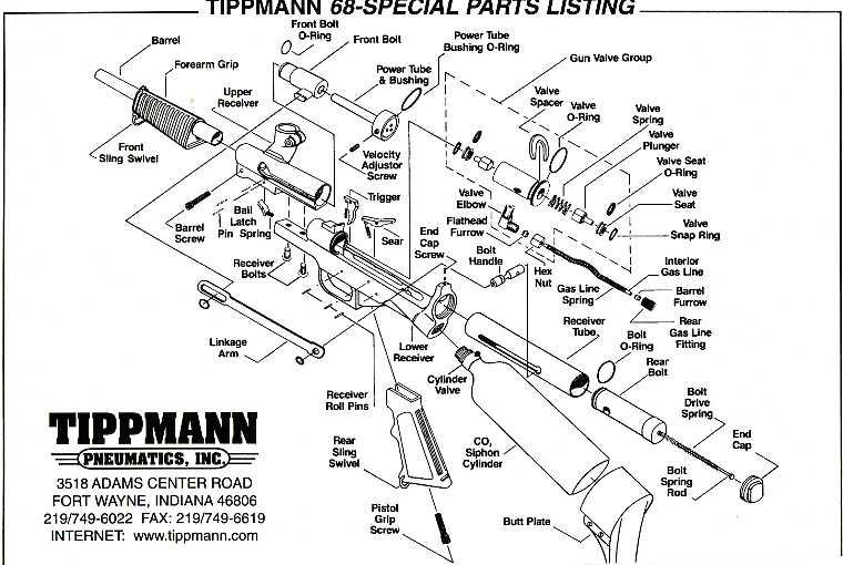 tippmann 68 special paintball gun repair parts