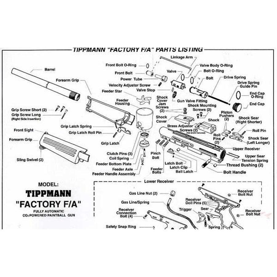 Tippmann Factory Fa Paintball Gun Repair Parts 98 Flatline Barrel Manual F A Diagram