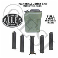 Jerry Can Paintball Canister with 5 Pods and a Pod Stand