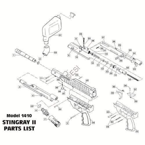 brass eagle stingray gun diagram rh paintball parts com