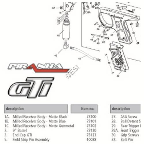pmi piranha gti gun diagram rh paintball parts com VL Orion Paintball Gun Diagram spyder paintball gun parts diagram